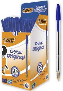 Caneta esferográfica 1.0mm cristal azul - Pacote 50 | R$24