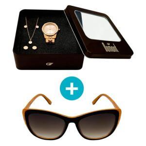 Relógio Dumont Feminino Analógico, Caixa 3,8cm, Rosé + Brinde Semi Joia - Modelo Du2035Fmn/K4C + Óculos de Sol, UV, marrom, Vintage