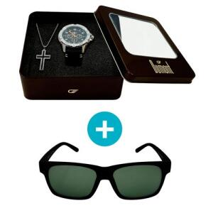 Relógio Dumont Masculino Analógico, Caixa 4,8cm, Prata + Brinde: Crucifixo + Óculos de Sol, UV, preto