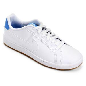 Tênis Couro Nike Court Royale Masculino - Branco e Azul Claro Tam. 41