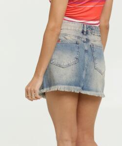 Saia Feminina Assimétrica Barra Desfiada Uber Jeans