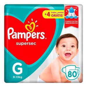 Fralda Pampers Supersec G - 80 unidades - R$53