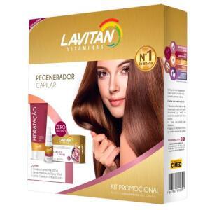 Kit Lavitan Hair 30 Cápsulas + Shampoo 200ml + Solução Regeneradora 50ml - R$20