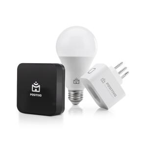 Kit Casa Conectada Positivo com Smart Controle Universal, Smart Lâmpada Wi-Fi e Smart Plug Wi-Fi - 3 Peças