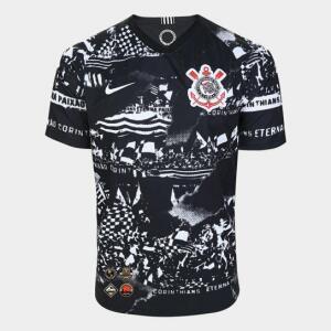 Camisa Corinthians III 19/20 Torcedor s/nº Nike Masculina - Invasões - All Patches - Preto e Branco