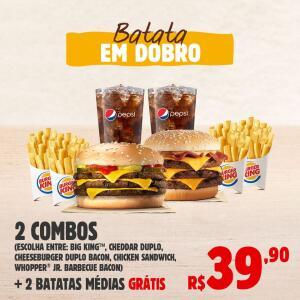 [Burger King] 2 Combos Hambúrguer, Fritas e Refil + 2 Batatas   R$ 40