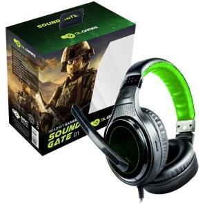 Headset Gamer DL Games SoundGate D1, Drivers 40mm, Preto e Verde