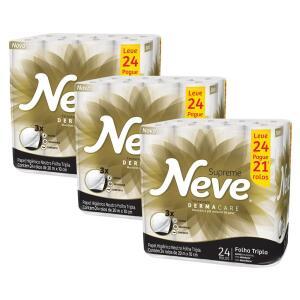 Papel Higiênico Neve Supreme Dermacare Folha Tripla Leve 24 Pague 21 | R$72