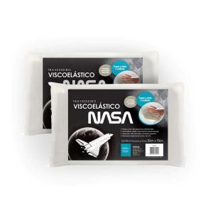 Kit 2 travesseiros Fibrasca Visco Nasa 50x70 cm Branco   R$70