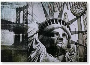Quadro Liberty New York Etna Preto/branco   Frete Grátis - Prime