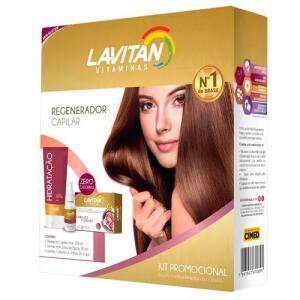 Kit Lavitan Hair 30 Cápsulas + Shampoo 200ml + Solução Regeneradora 50ml R$20