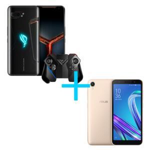 ASUS ROG Phone II 8GB/128GB Preto + Gamepad Controller + Zenfone Live L2 OctaCore 435 Dourado