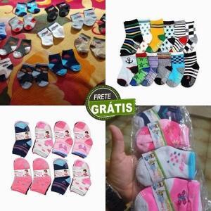 Kit 12 pares de meias infantil