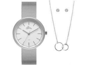 Relógio Feminino Allora Analógico Prata com Brinco e Colar R$ 90