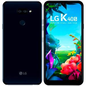 "Smartphone LG K40s, Preto, LMX430BMW, Tela de 6,1"", 32GB, R$ 630"