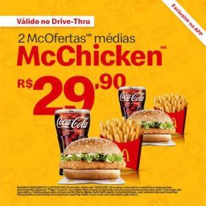 2 McOfertas Médias McChicken R$ 29,90
