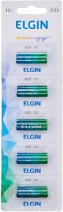 Pilha Bateria Alcalina A23 Cartela com 5 Unidades 12V, Elgin, Baterias | R$14