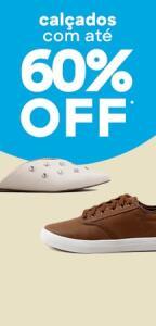 Até 60% OFF em calçados