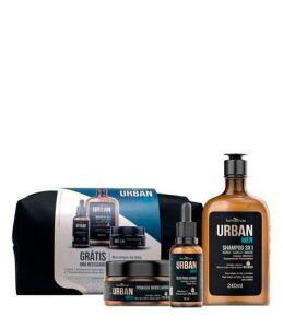 Urban Men IPA Kit - Shampoo + Óleo + Pomada + Nécessaire Kit