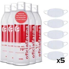 Kit 5 Álcool Gel 70º 500ML + 5 Máscara Tecido Dupla Camada Branca