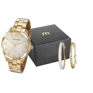 Kit Relógio Mondaine Feminino 76728lpmvde3k1 Com Dois Braceletes