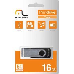 Pen Drive 16gb USB 2.0 Multilaser Twist preto PD588 BT