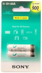 Pilhas AAA Sony Recarregáveis - 900mAh (2 unidades)