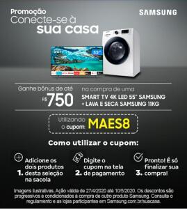 [APP Magalu] Desconto de R$750,00 em compra de SmartTV + Lava e Seca Samsung
