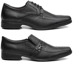 [Prime] Kit 2 Pares Sapato Social Masculino Couro Legítimo