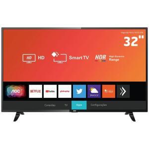 """Smart TV LED 32"""" HD AOC 32S5295/78G com HDR, Wi-Fi, Miracast, Botão Netflix, Botão YouTube, Conversor Digital Integrado, HDMI e USB R$809"""