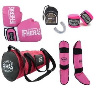 Kit Boxe Muay Thai Trad-Luva Bandagem Bucal Caneleira Bolsa 14oz- Rosa | R$195