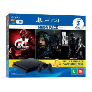 PS4 Slim 1TB Mega Pack Com Death stranding, The last of us e Gran Turismo.   R$ 1.936