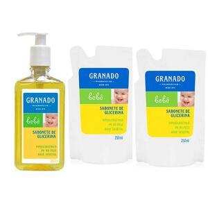 Sabonete facial Neutrogena +Kit com Sabonete Líquido Granado Bebê Glicerina 250ml + 2 Unidades de Refil