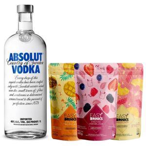 Kit Absolut 1L com 3 Sachês de Frutas Easy Drinks