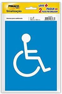 [Prime] Placa adesiva p/sinaliz. 14x19 acesso cadeirante Pimaco, BIC, pacote de 2 - R$3