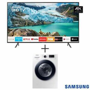 "Smart TV Samsung UHD 4K RU7100 65"", Bluetooth + Lava & Seca 11 Kg Samsung Branca, 220V - WD11M4453JW"