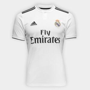 [Visa] [G/GG] Camisa Real Madrid 2018 s/n° Masculina Adidas - Branco e Preto | R$ 107