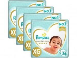 Kit Fraldas Pampers Premium Care Tam XG 26 Unidades Cada 4 Pacotes R$ 100