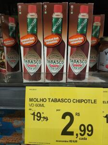[Loja Física - Carrefour - BSB] Molho Tabasco Chiplote Smoked Red Jalapenos 60ml - R$3