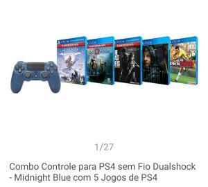Controle PS4 + 5 jogos
