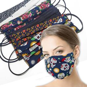 Kit 6 Máscaras Tecido Tricoline Duplo Lavável Reutilizável