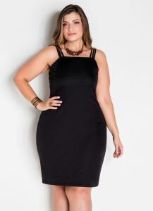 Vestido de alças preto plus size | R$30