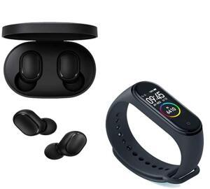 Kit Smartwatch Xiaomi Mi Band 4 Oled Preto Original Lacrado + Fone de Ouvido Xiaomi Redmi Airdots Com Bluetooth