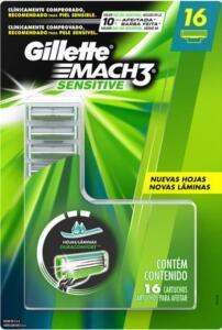 Carga para Aparelho de Barbear Gillette Mach 3 Sensitive para Peles Sensíveis 16 Unidades | R$ 80