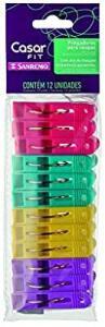 [Prime] Pregador de Roupas Plástico Livre de BPA, Sanremo, Rosa, Roxo, Azul e Amarelo, Pacote com 12 Un - R$6