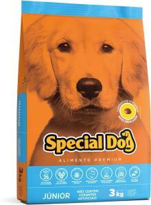 4 sacos de 3 kilos de ração special dog Junior | R$ 89