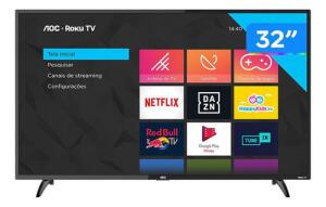 "Smart TV AOC HD 32"" 32S5195/78G Roku TV   R$899"