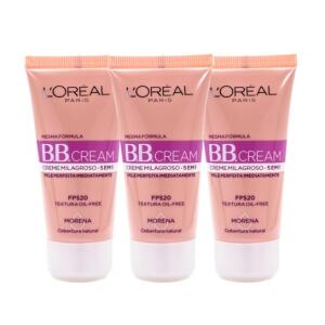 Kit 3 BB Cream L'Oréal Paris cor Morena FPS 20 30ml - Incolor
