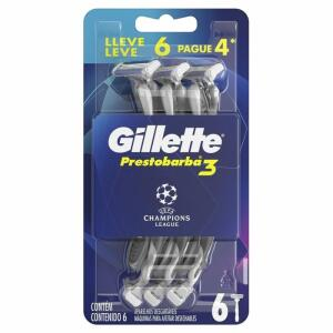 6 unidades - Aparelho De Barbear Gillette Prestobarba ucl lâmina tripla