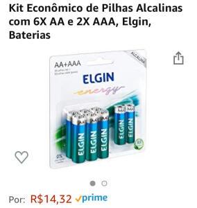 [PRIME] Kit Pilhas Alcalinas com 6X AA e 2X AAA